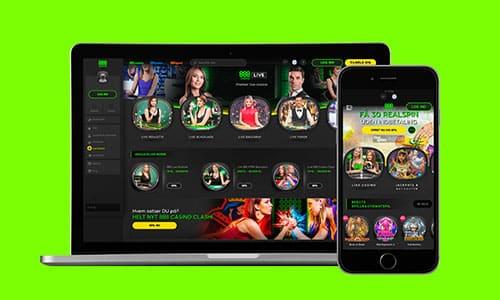 Du kan spille hos 888 Casino på både desktop og mobil