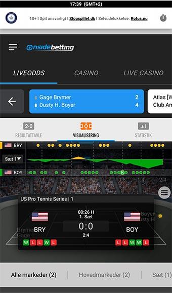 Sådan ser det ud når du spiller live betting på mobilen