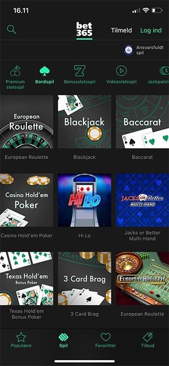 Spil bordspil som roulette og blackjack i app'en