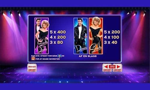 Hos Bet365 Casino kan du spille spilleautomaten Grease med John Travolta og Olivia Newton-John