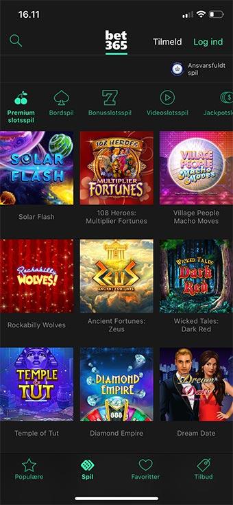 Du kan spille et hav af spil i Bet365 Casino app'en - bl.a. fra Microgaming