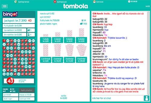 Hos Tombola spiller chatten en central rolle
