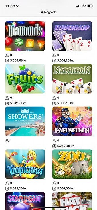 Her ses Bingo.dk på en iPhone