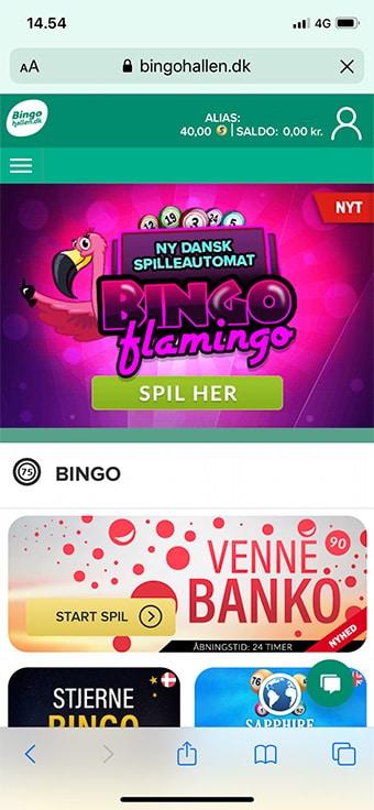 Bingohallen.dk kan tilgås via din browser på mobilen