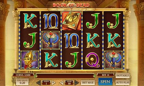Du kan spille den ultrapopulære spilleautomat Book of Dead hos Casumo