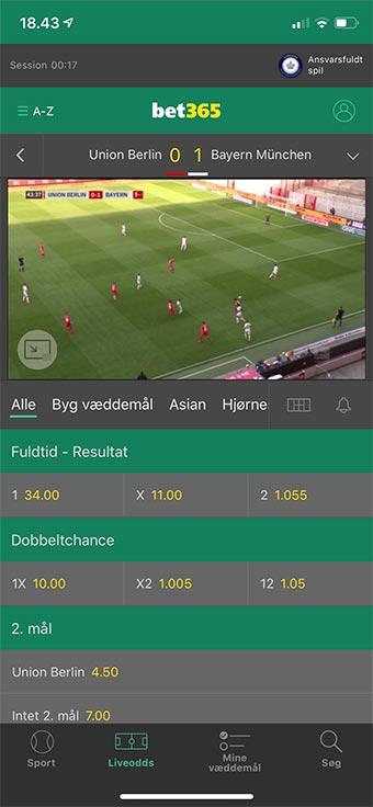 Du kan livestreame Bundesligaen på mobilen hos Bet365