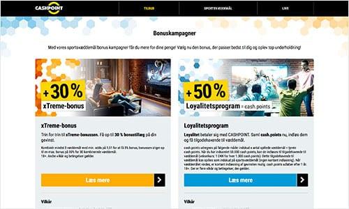Cashpoint præsenterer pt. to kampagnetilbud på sin hjemmeside