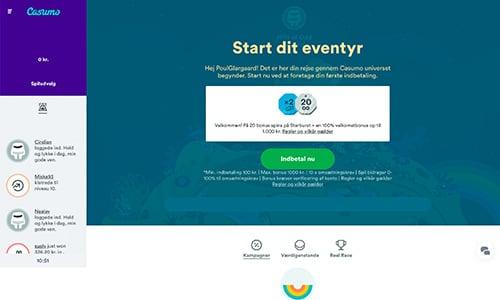 Casumo byder på en enkel og moderne hjemmeside
