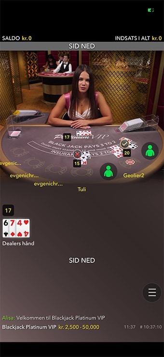 Du kan også spille live casino på mobilen hos Casumo
