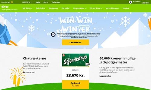 Sådan ser hjemmesiden ud hos Danske Spil Bingo