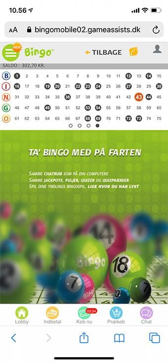 Spil på mobilen hos Danske Spil Bingo