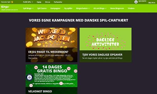 Danske Spil Bingo har et fint og varieret udbud af kampagner