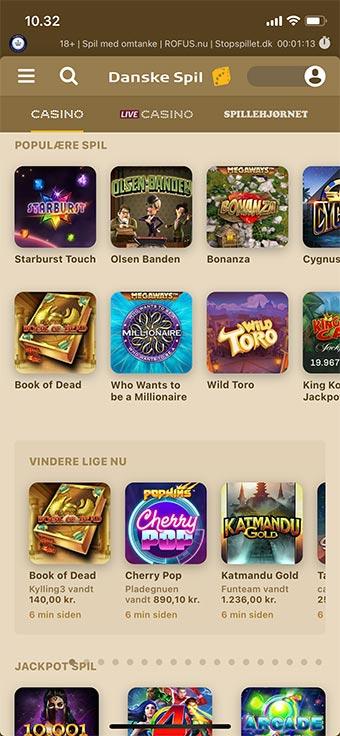 Spil hos Danske Spil Casino på mobilen