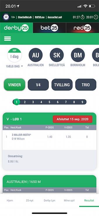 Hos Derby25 kan du spille via en app til mobilen