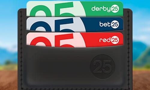 Med en Derby25 konto kan du også spille hos Bet25 og Rød25