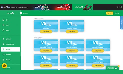 Du kan bl.a. spille V5 og V75 hos Derby25