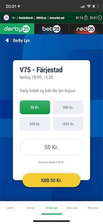 Du kan naturligvis spille V75 på mobilen hos Derby25