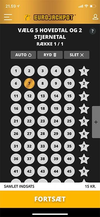 Vælg selv dine Eurojackpot-lykketal i app'en