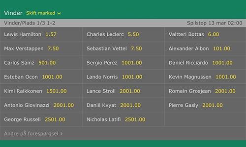 Spil på Formel 1 hos Bet365 - der er masser af odds