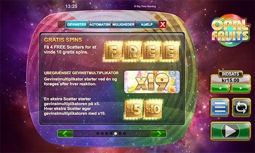 Du får freespins på spilleautomaten Opal Fruits blot du opretter en konto