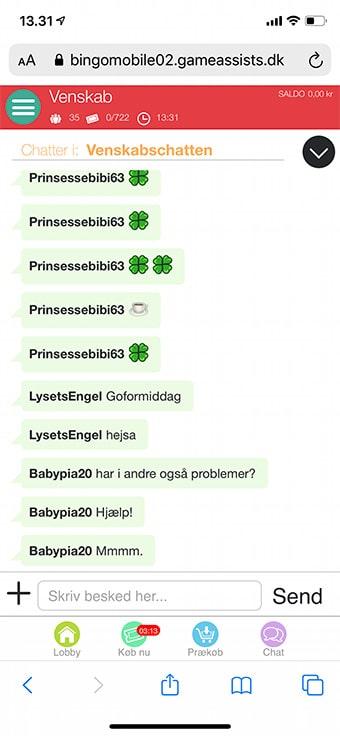Chatten på mobilen er ikke helt optimal hos HyggeSpil.dk Bingo
