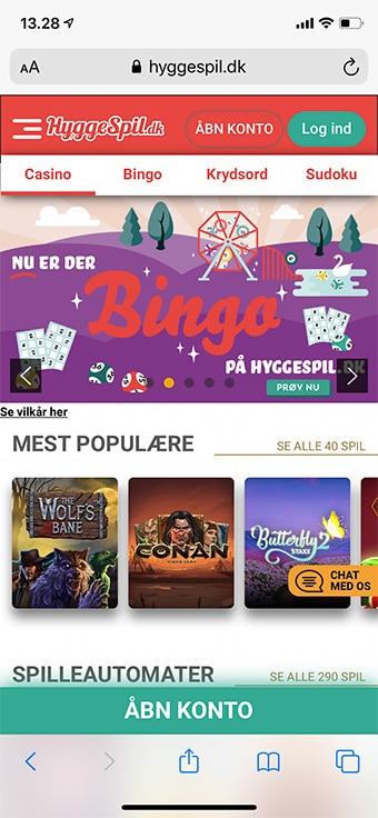 Du kan naturligvis spille hos HyggeSpil.dk Bingo på mobilen