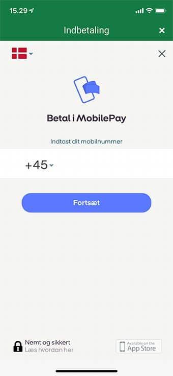 Du skal nu bekræfte indbetalingen i MobilePay app'en