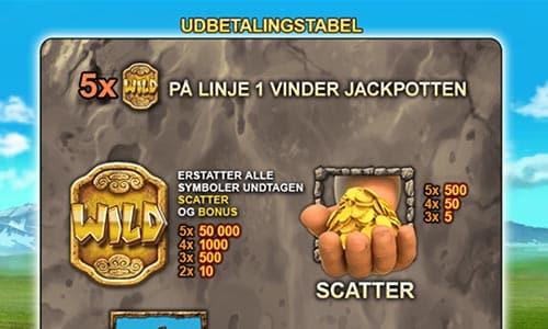 Fem wild-symboler på linje 1 giver dig den store million-jackpot