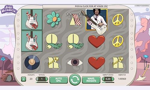 Spil med legendariske Jimi Hendrix i denne spilleautomat