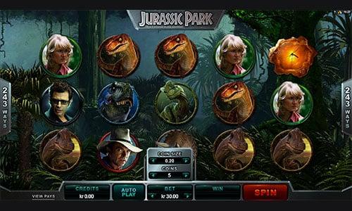 Spil Jurassic Park spilleautomaten hos Maria Casino