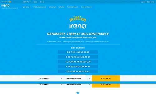 Keno har en meget simpel og brugervenlig hjemmeside