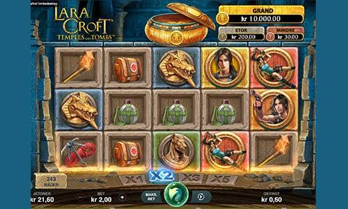 Spil Lara Croft spilleautomaten hos Spillehallen.dk
