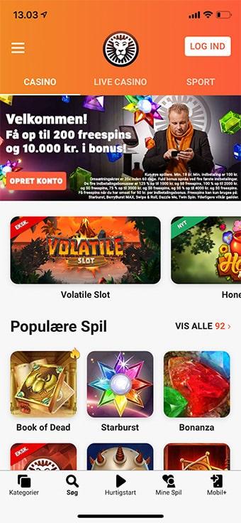 LeoVegas Casino byder på en app til enten iOS eller Android