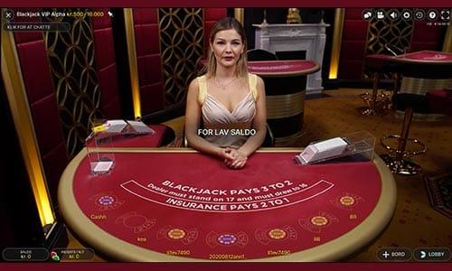 Spil live backjack hos Playojo