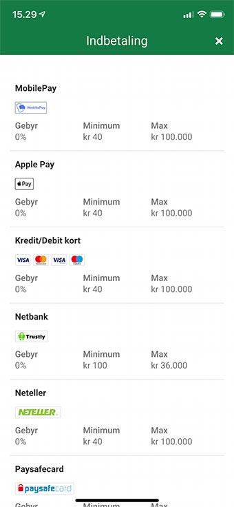 Du kan indbetale med MobilePay hos bl.a. Unibet
