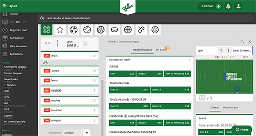 Hos Mr Green Sport finder du et ganske solidt udvalg af odds