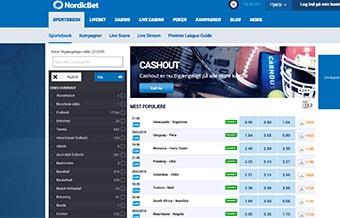 Navigationen og søgefunktionen virker fint hos NordicBet