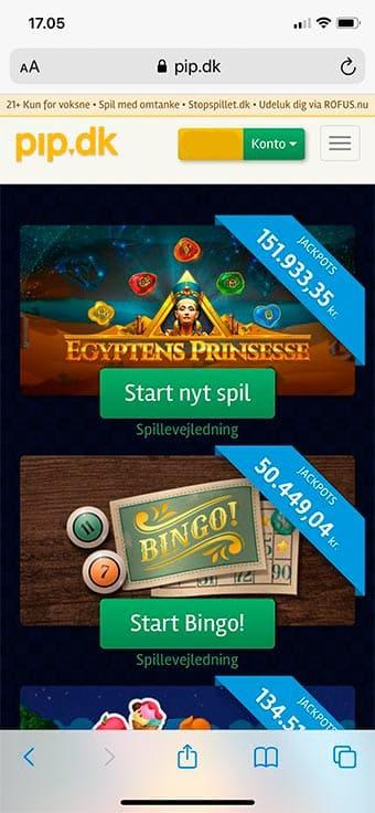 Spil hos Pip.dk på mobilen