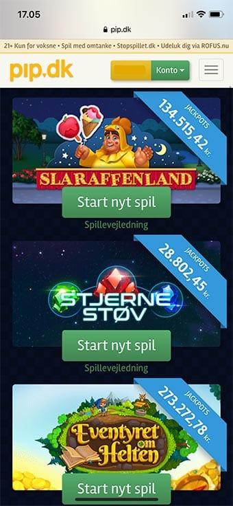 Alle spil er tilgængelige på mobilen