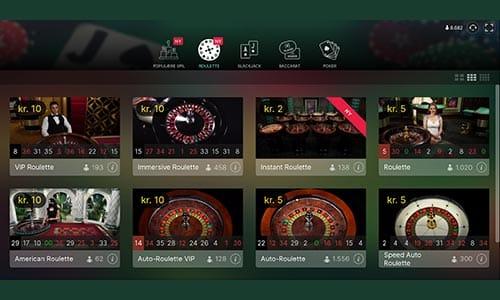 Spiludbyderen har et pænt stort udvalg af live casino spil