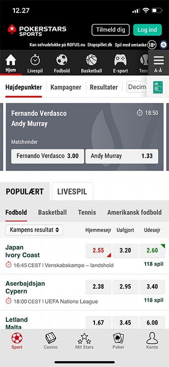 PokerStars Sports har en flot app til Android og iOS
