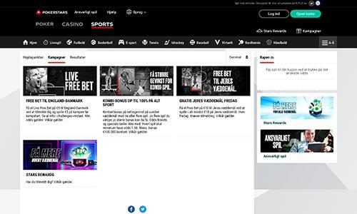 PokerStars Sports byder på en fin og simpel hjemmeside
