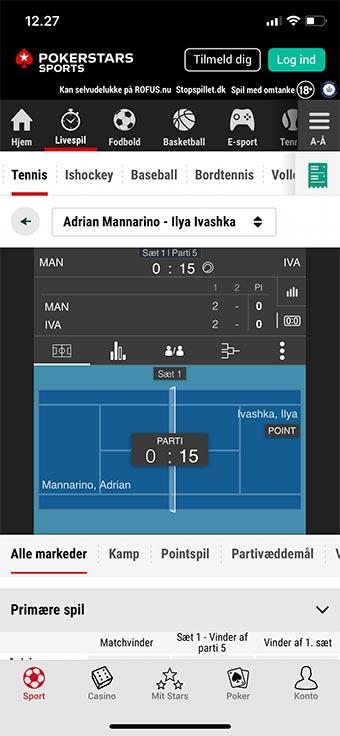 Du kan spille både live betting og pre-match på mobilen