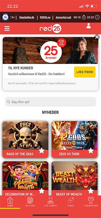 Du kan spille hos Rød25 på mobilen