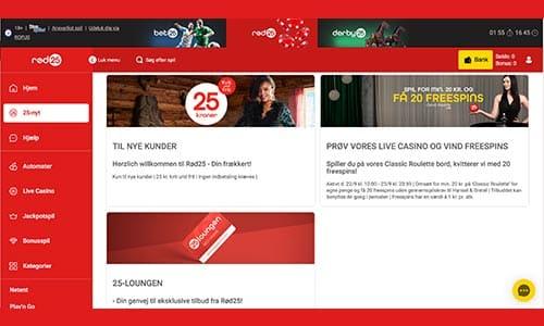 Rød25 tilbyder en pænt udvalg af spændende bonusser og kampagner