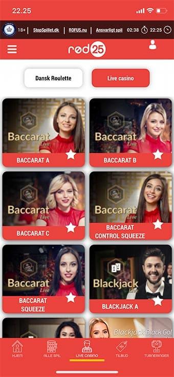 Du kan også spille live casino på mobilen