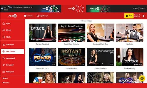 Rød25 har et absolut fantastisk udvalg af live casino-spil