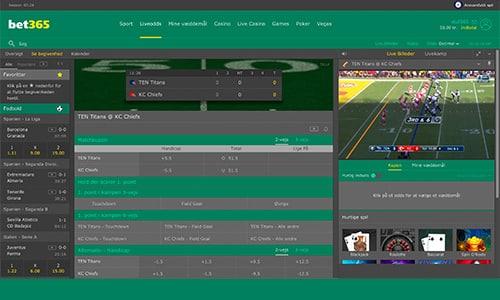 Se NFL gratis hos Bet365. Spiludbyderen viser alle sæsonens kampe