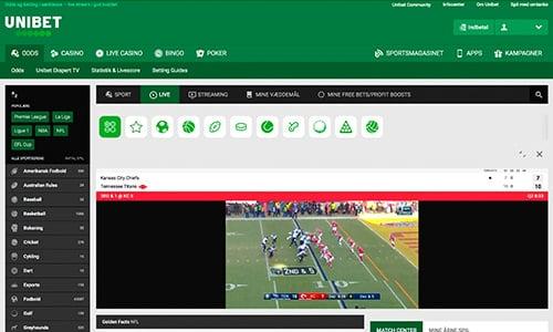 Se NFL gratis hos Unibet. Du kan se NFL både på laptop og mobilen