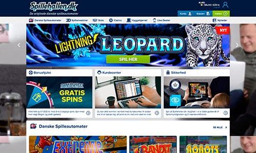 Spillehallen.dk har en ultra simple hjemmeside - og alt er på dansk